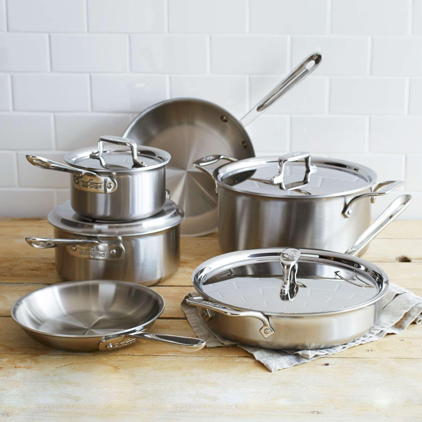 AllClad D5 Brushed Stainless Steel 10Piece Set Sur La Table