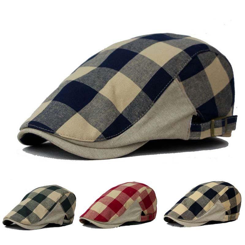32e20628f4c90 Cheap Del sol del verano viseras sombreros hombres y mujeres Boina Boina  tapas a cuadros moda 4 colores para elegir