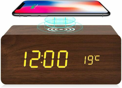 Details About Wooden Alarm Clock With Wireless Charging For Iphone