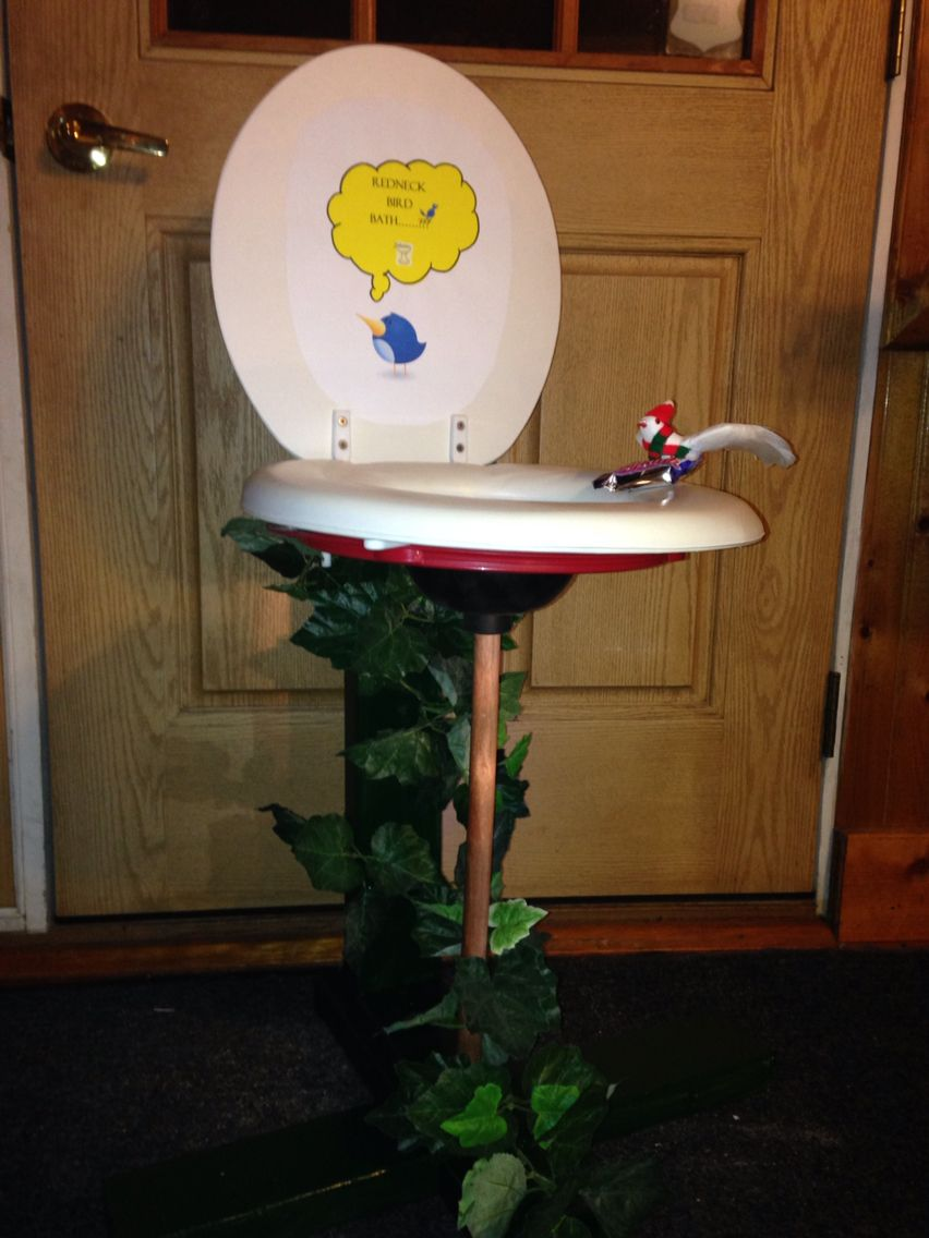 Diy Redneck bird bath made with an old toilet seat and plunger ...