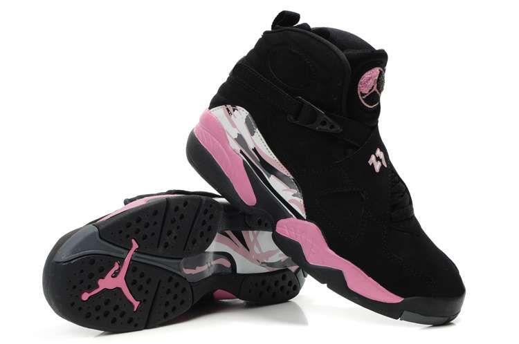 black and pink jordan shoes