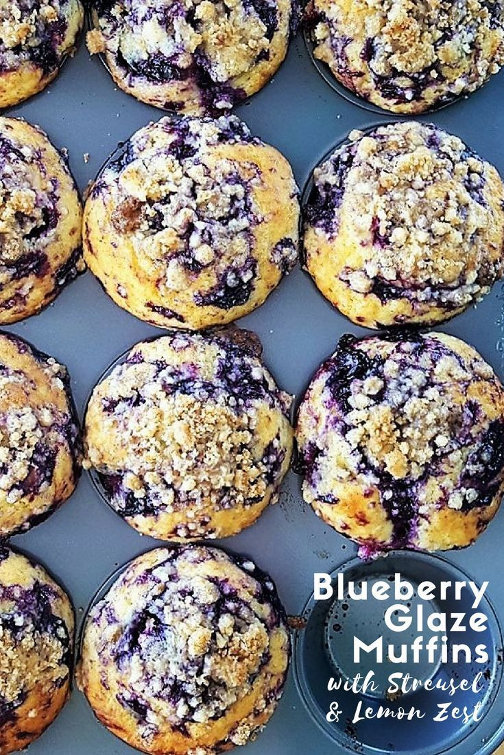 Glaze Muffins with Streusel & Lemon Zest Filled with juicy berries and covered with a sweet crumbly topping, these Blueberry Glaze Muffins with Streusel & Lemon Zest are fluffy and popping with delightfully bright flavors for summer. |  via @feastinthymeFilled with juicy berries and covered with a sweet crumbly topping, these Blu...