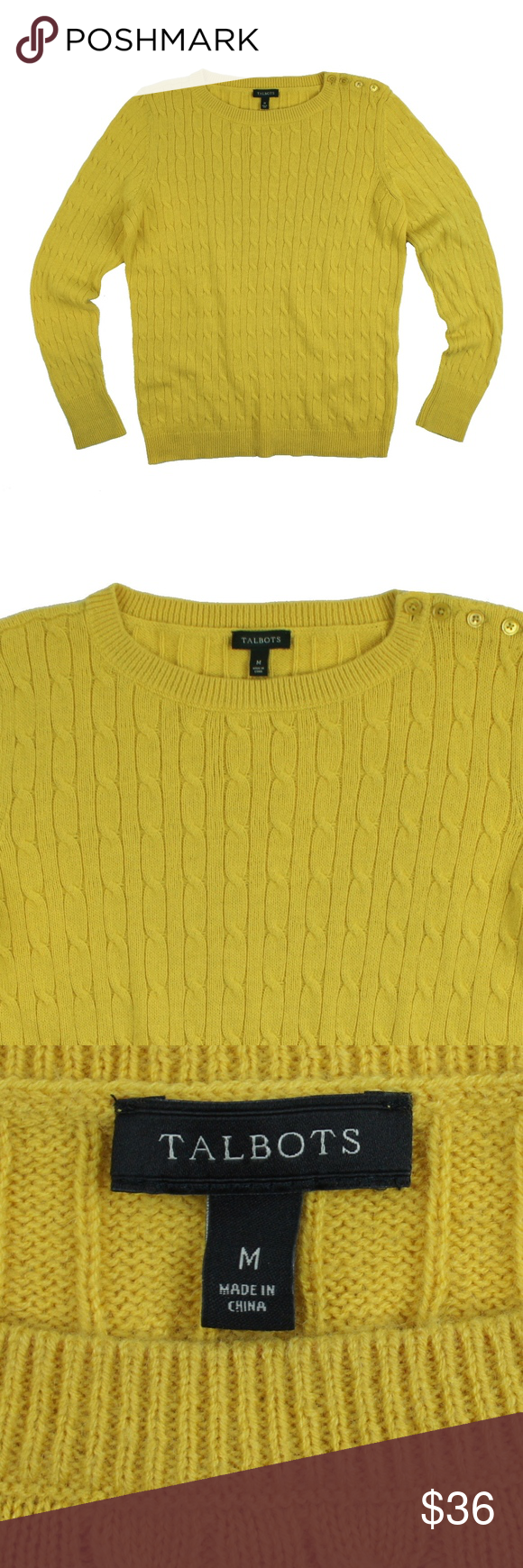 TALBOTS Golden Mustard Shoulder Button Sweater | Cable knit ...