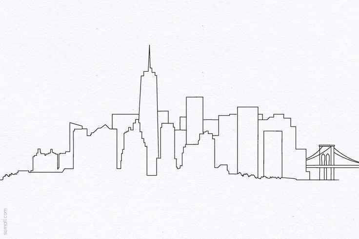 New York City Skyline Simple Drawing Sketch Coloring Page
