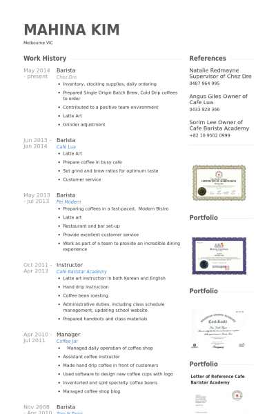 Resume Examples Barista In 2020 Resume Examples Barista Resume Design Template