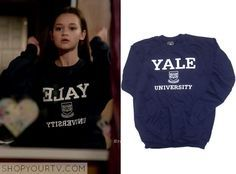 """Emma Chota (Ciara Bravo) wears this navy/dark blue """"Yale University"""" printed sweater in this week's episode of Red Band Society. It is the Ivy Sport Yale Crest Sweatshirt. Buy it HERE for $34.95"""