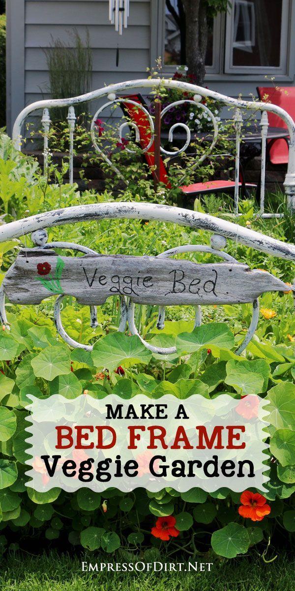 Turn A Real Bed Frame Into A Garden Bed Veggie Garden Garden
