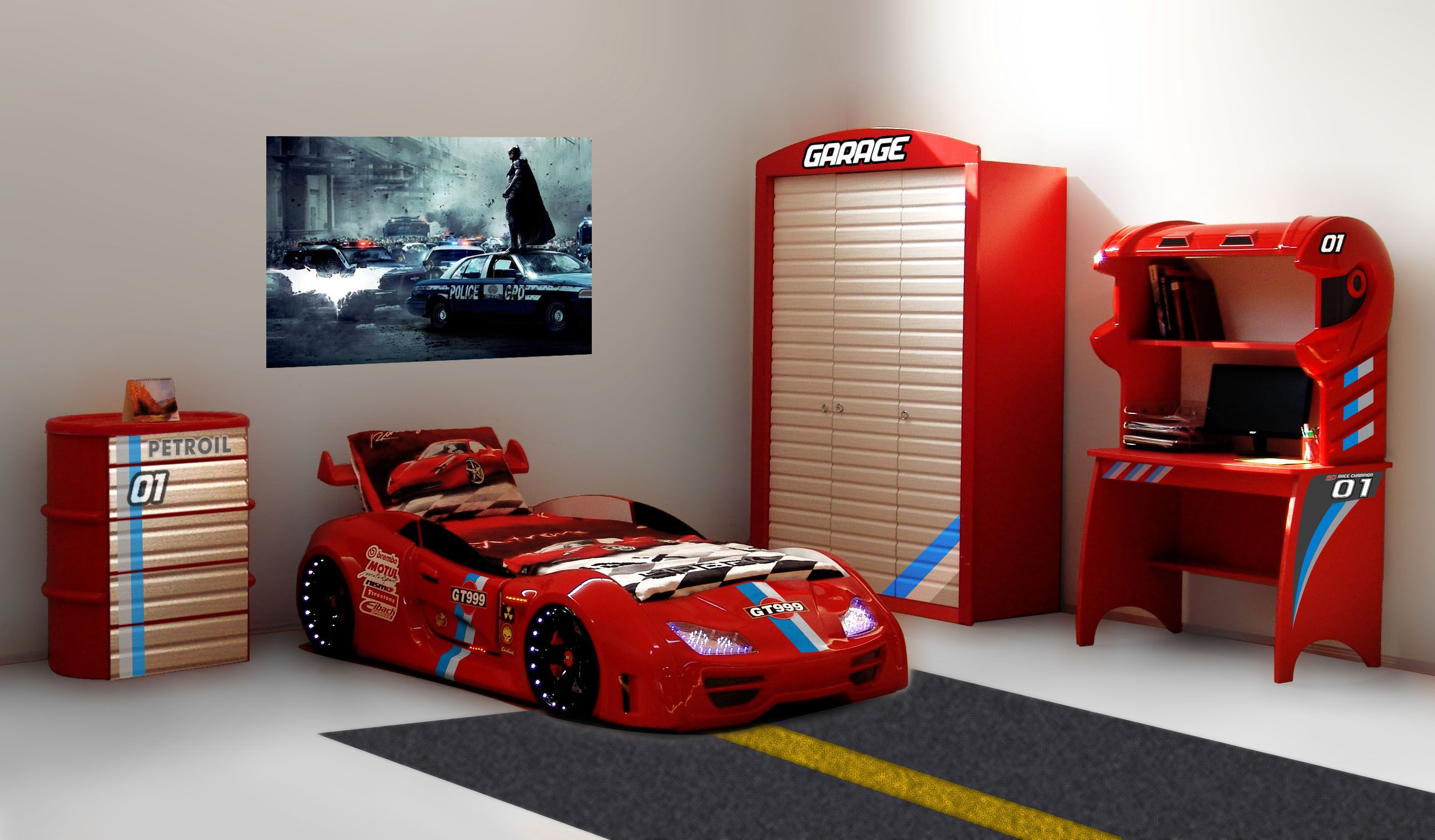 gt 999 kinderzimmer rot 4 tlg in 8 farbvarianten ist dieses flotte zimmer auf der berholspur. Black Bedroom Furniture Sets. Home Design Ideas