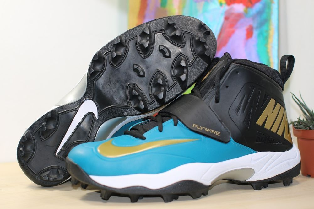 1d8b32e04eb Nike Flywire Men s Lineman 3 4 TD Football Cleats SIZE 14 White Blue  618167-015  Nike  Cleats