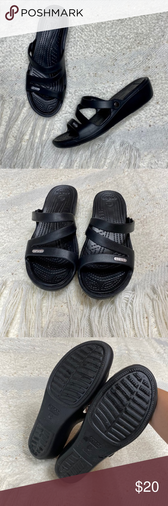 Crocs 'Patricia' black strappy wedge sandals WIDE Crocs.  Patricia.  Black strappy low wedge sandals.  Excellent used condition, minimal wear. Smoke free. Size 8W. 2 wedge heel.  Offers are welcomed. A83A91. CROCS Shoes Sandals #lowwedgesandals