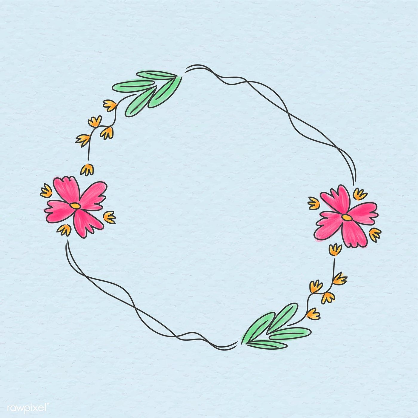 Photo of Download free illustration of Cute doodle floral wreath illustration