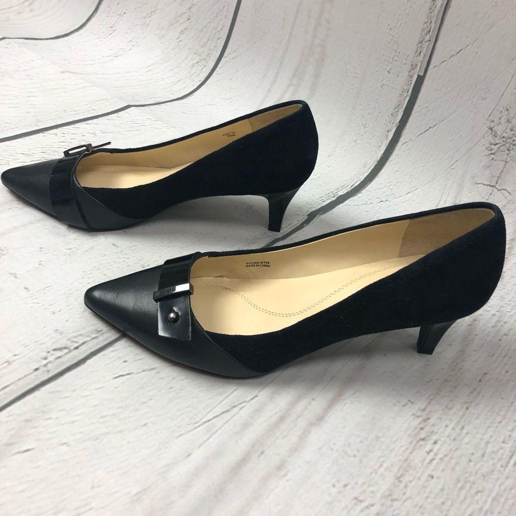 Tahari Anton Black Leather Buckle Heels
