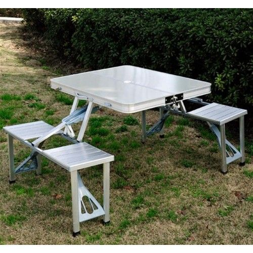 Outsunny outdoor portable folding foldable aluminum picnic table outsunny outdoor portable folding foldable aluminum picnic table outdoor travel junior camping table with 4 watchthetrailerfo