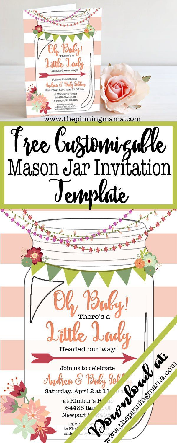 Free Template For A Mason Jar Invitation Perfect Southern Or Rustic Themed Bridal Shower Baby Even Casual Wedding