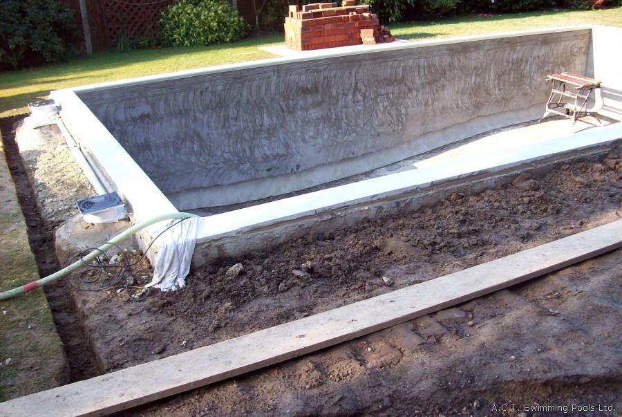 Concrete block pool construction backyard pinterest for Concrete swimming pool construction