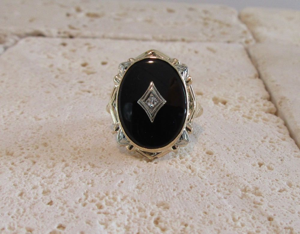 White and Yellow Gold Black yx and Diamond Ring Vintage Black