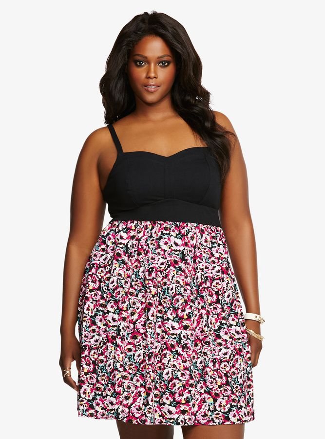 Plus Size Floral Tank Skater Dress