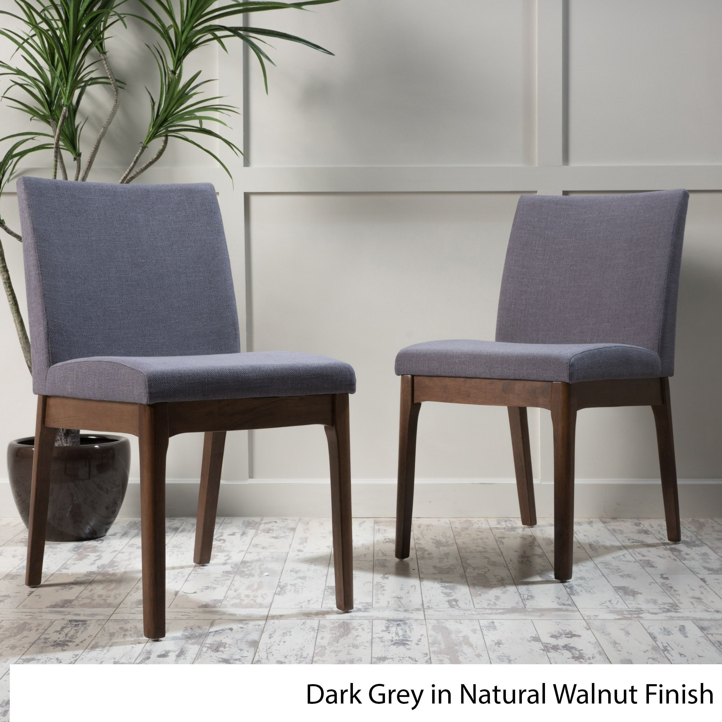 Kwame Mid-Century Fabric Dining Chair (Set of 2) by Christopher Knight Home (Dark Grey in Natural Walnut Finish)