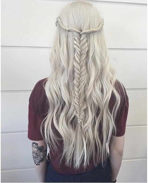 Such a stunning icy blonde half up braided style from hairbybrittanyy