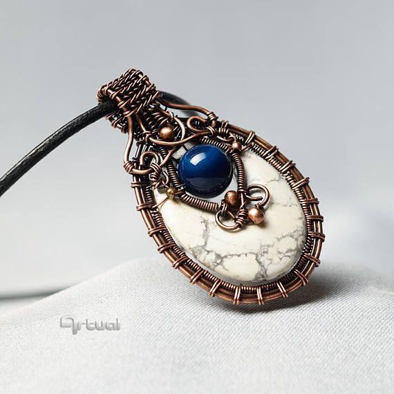 Copper wire jewelry wire wrapped pendant white gemstone by #Artual ...