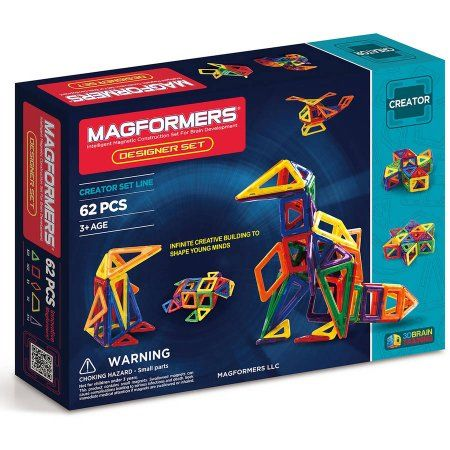Magformers Designer 62-Piece Magnetic Construction Set, Multicolor