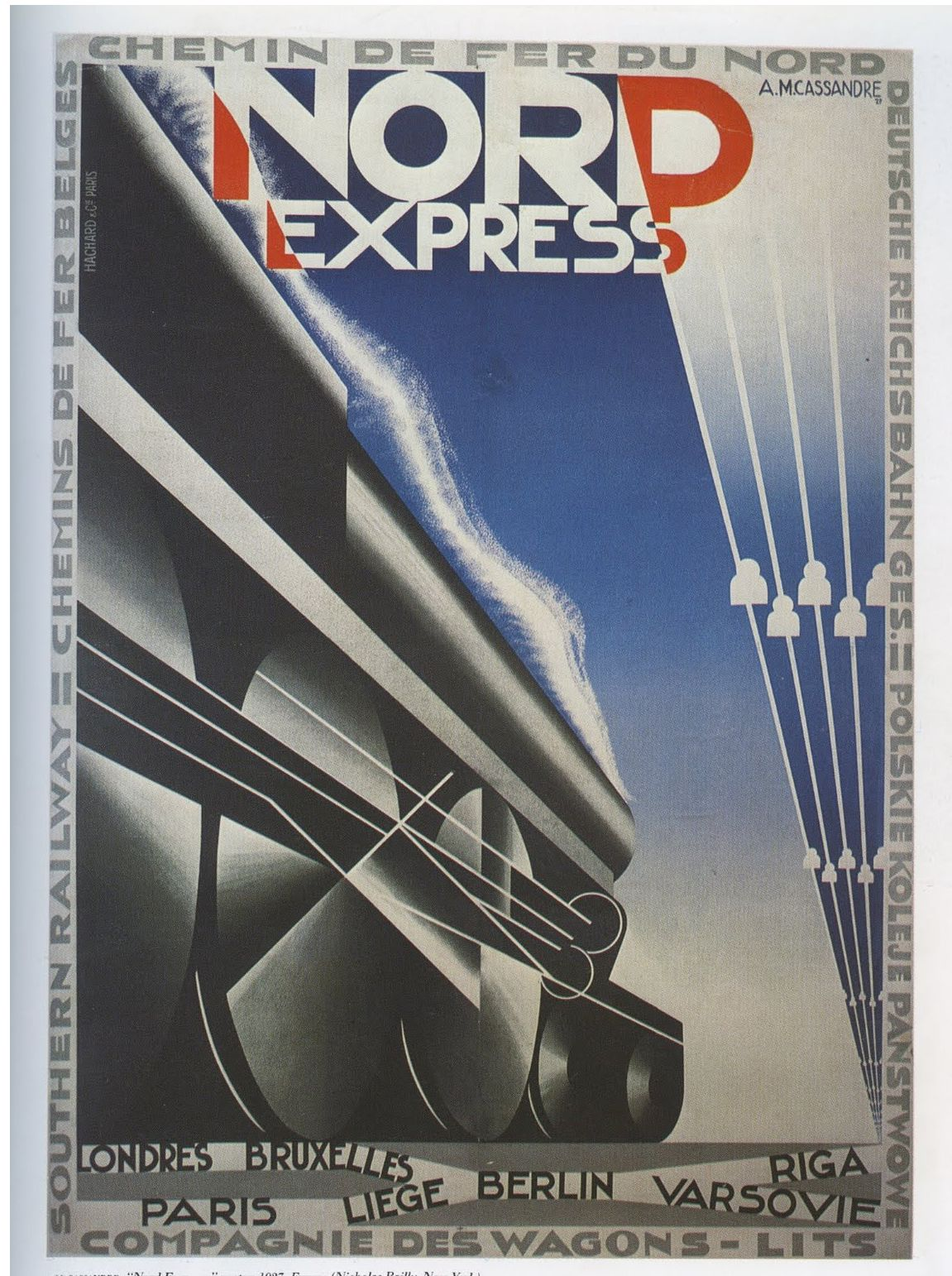 Nord Express Cassandre Rail Poster 1927 Art Deco Design Posters