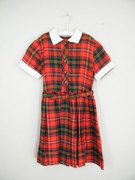 710ceea0471 Vintage 1950s Girls Dress   Red Plaid   Short Sleeves   Full Pleated ...