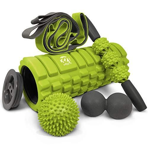 Photo of 321 STRONG 5 in 1 Schaumstoffrollen-Set inklusive Hohlkern-Massagerolle mit Endkappen, Muscle Roller Stick, Stretching Strap, Double Lacrosse Peanut, Spikey Plantar Fasciitis Ball, All in Giftable Box – Bright Lime