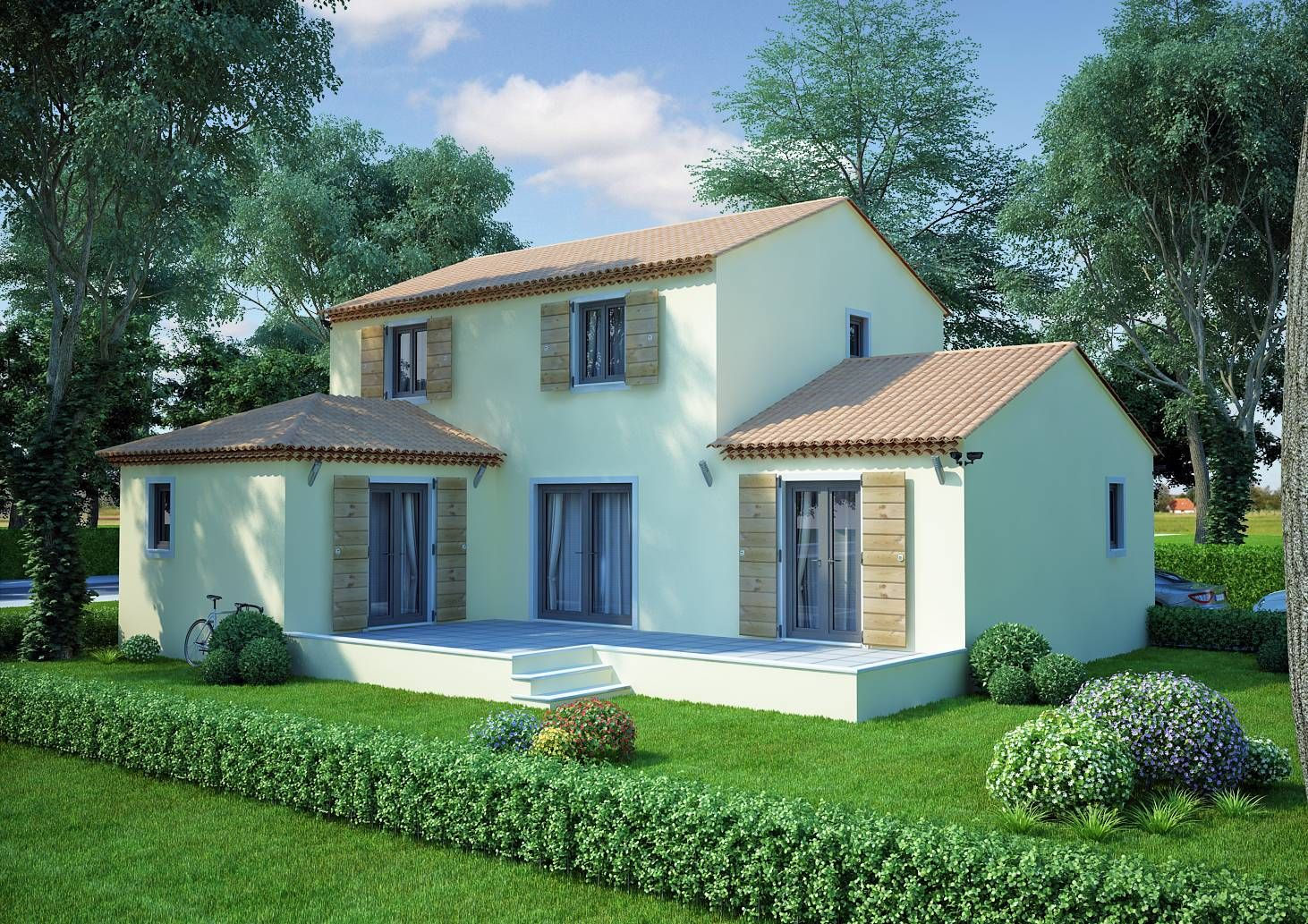 Maison en l de 130m2 lavande traditionnel azur logement for Modele entree maison