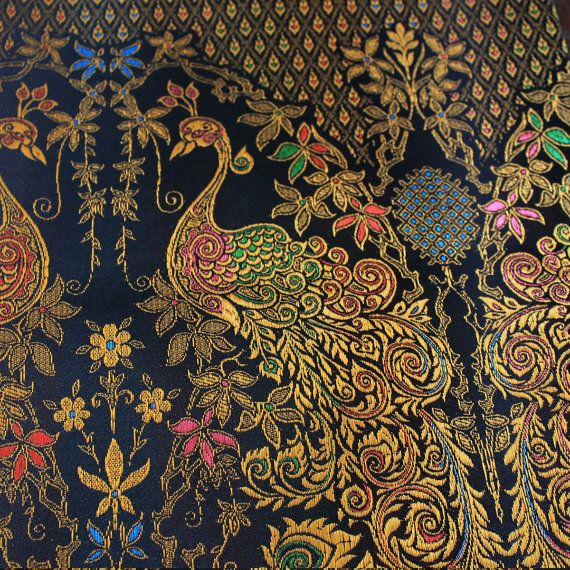 Colors Of Thai Silk On Gold And Black Peacock Vintage By