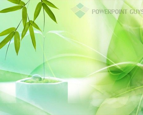 Green Leaves PowerPoint Slide Template Nature PowerPoint - nature powerpoint template