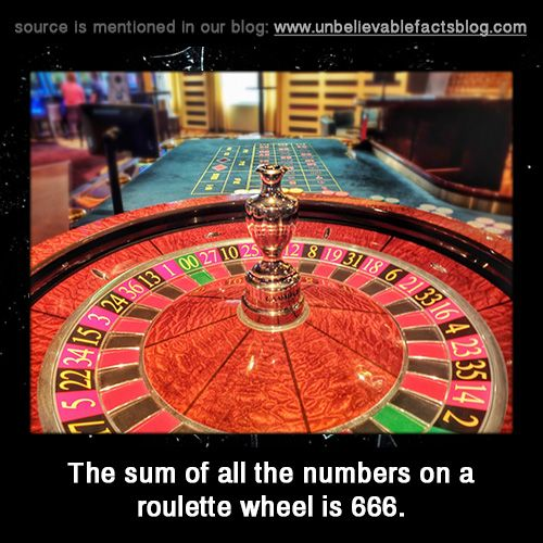 Sum of numbers on roulette wheel is 666 casino paddy power slots flash games demo