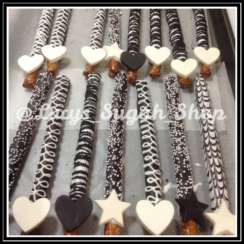 lucys_Sugah_Shop Black & White Chocolate covered pretzel rods ...