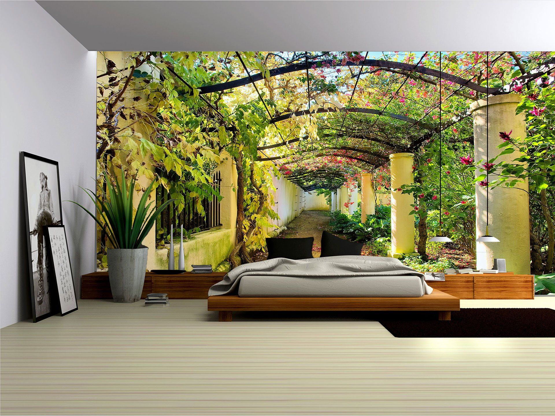 vlies fototapete tapete bild s m l xl xxl 3xl pflanzentunnel blumengasse 136ve wohnideen. Black Bedroom Furniture Sets. Home Design Ideas