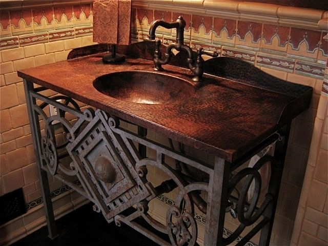 Custom Hammered Copper Vanity Top W Integrated Sink And Rustic Metal Base