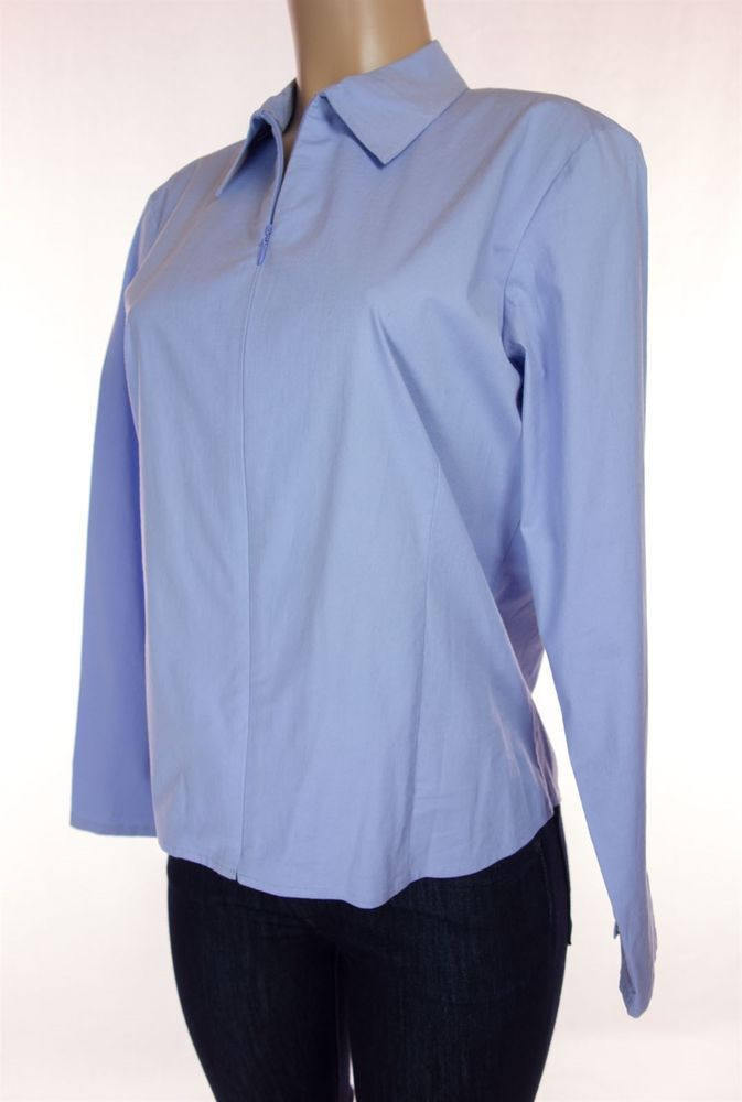 EILEEN FISHER Top Size M Blue Cotton Stretch Zippered Long Seeve Shirt #EileenFisher #Blouse #Casual