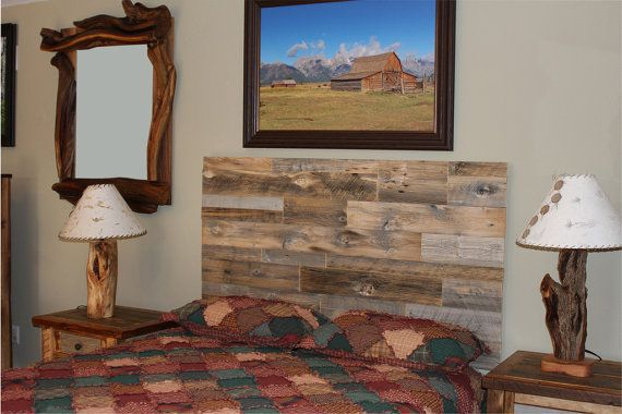 Cabecero madera natural granero pared montaje por BlueRidgeLogWorks ...