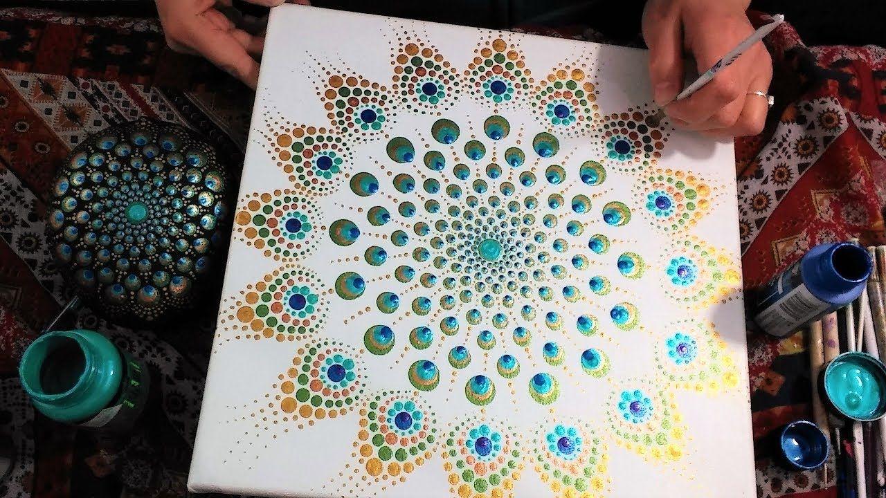 How To Paint Dot Mandalas Majestic Peacock 35 Full Step