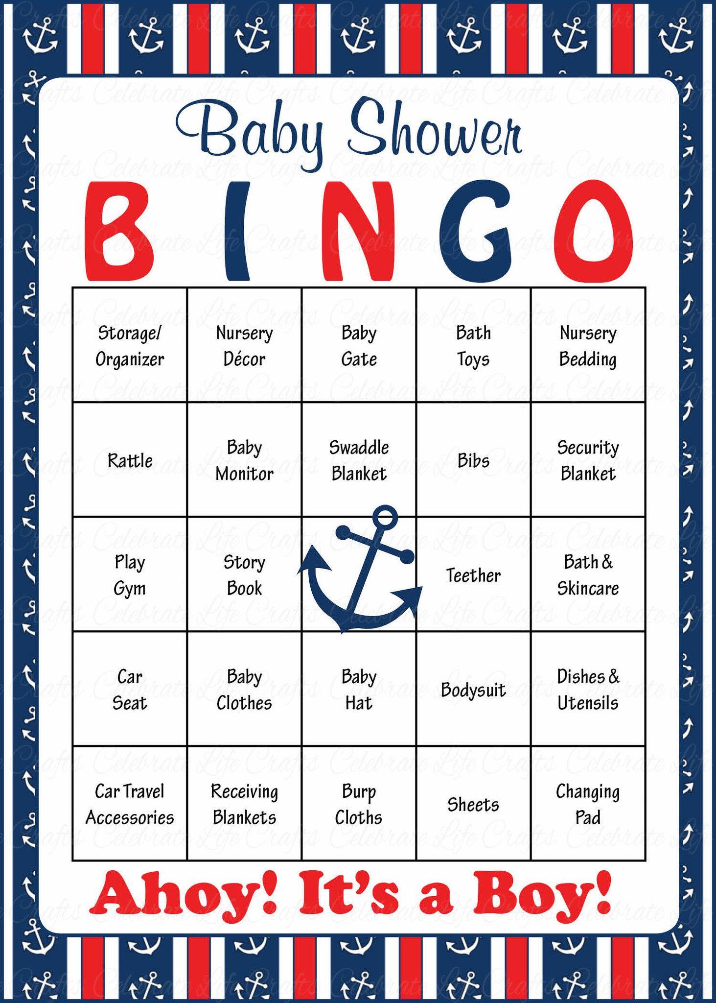 Nautical Baby Bingo Cards