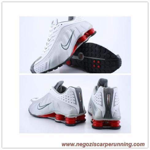 new style e25d4 95c9e scarpe da ginnastica Uomo 103181 Bianco Argento Grigio Nike Shox R4 Uomo