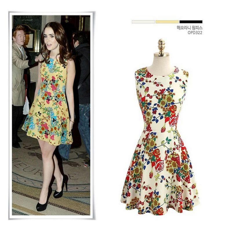New 2014 women girl summer chiffon Floral Print Mini Dress ...