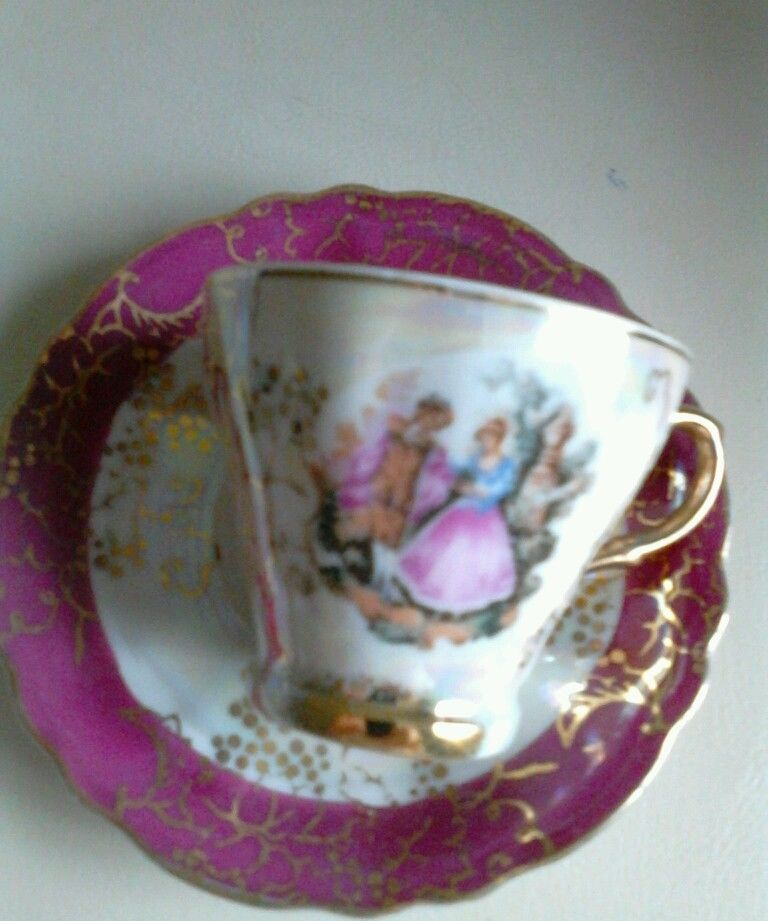 feb54eb60be Small china coffee cup and saucer Vintage FOR SALE • EUR 1,30 • See Photos!  This is a used item Tiny coffee cup and saucer with a printed scene It has  a ...