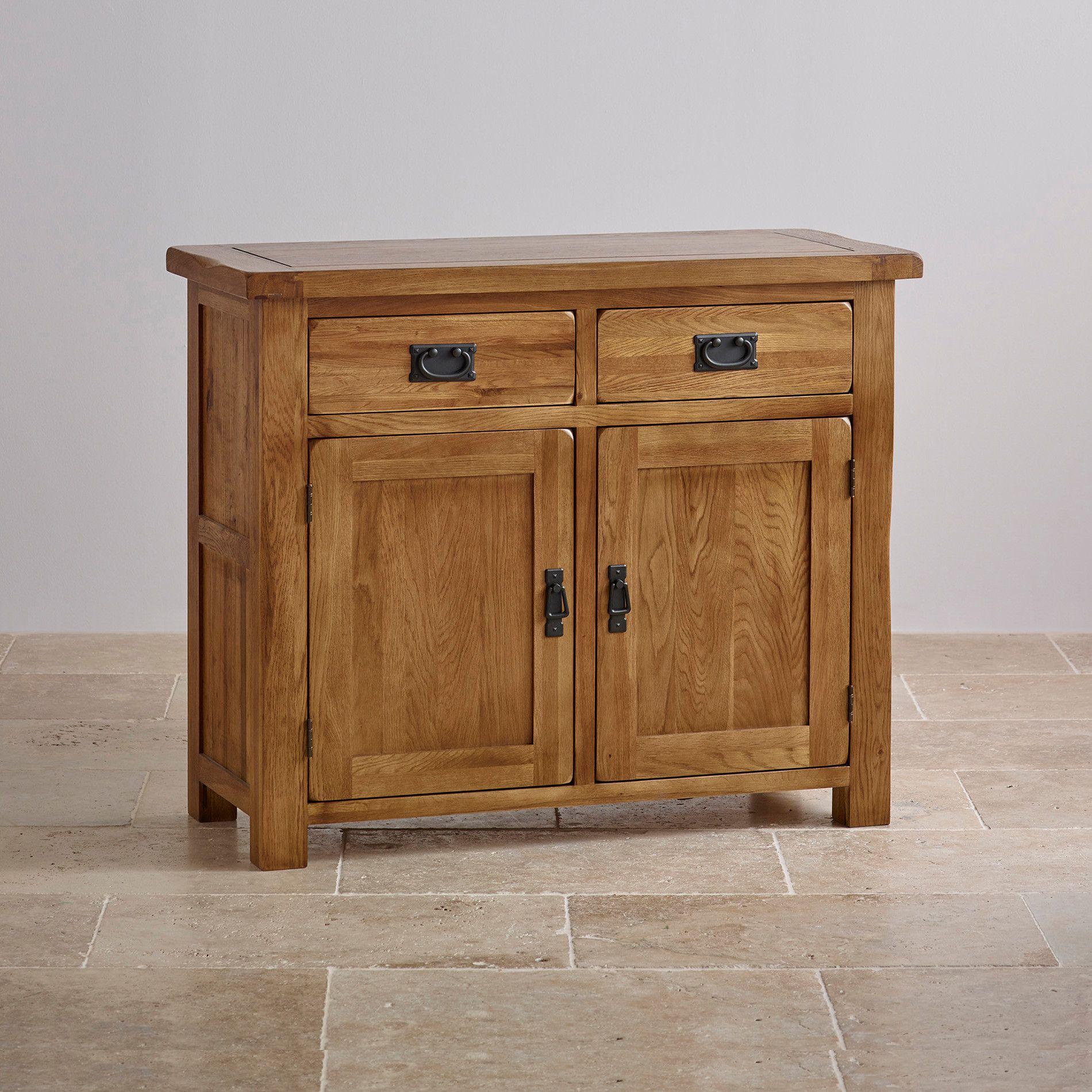 Wonderful Original Rustic Solid Oak Small Sideboard   Oak Furniture Land