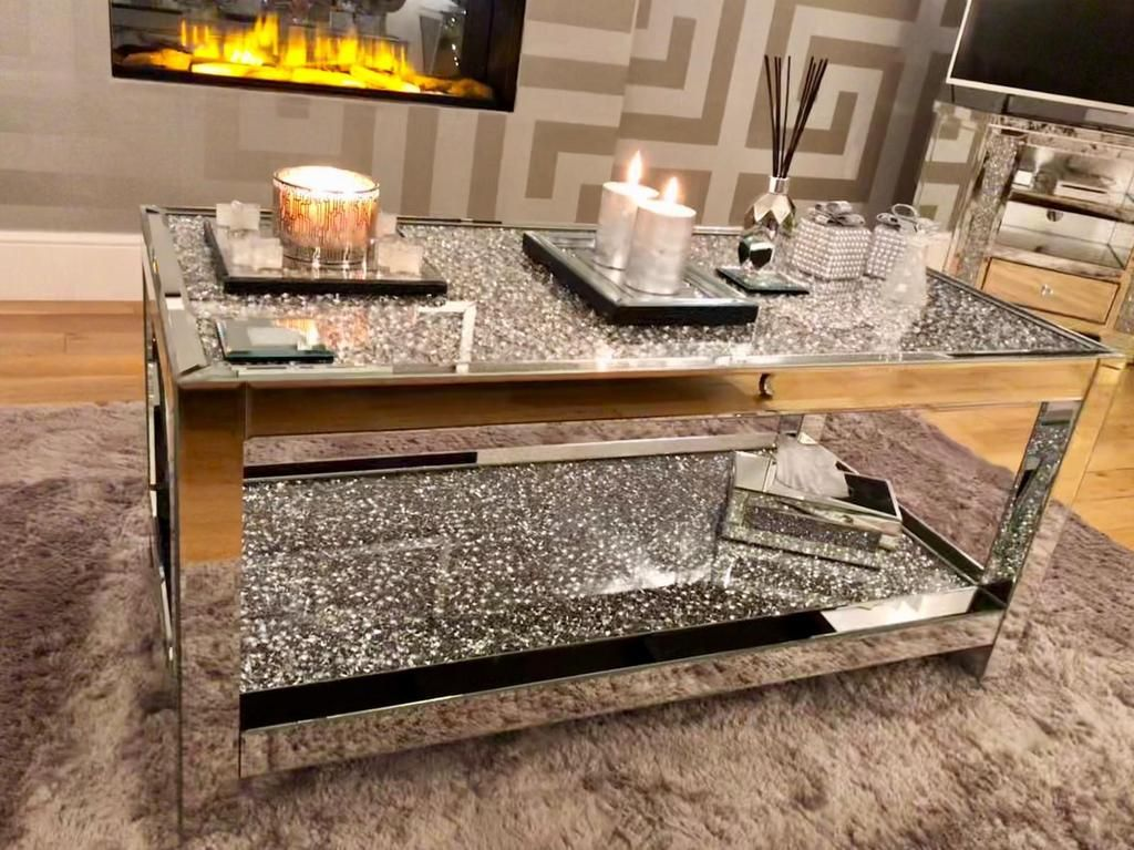 Diamond Crush 2 Tier Mirrored Coffee Table Mirrored Furniture