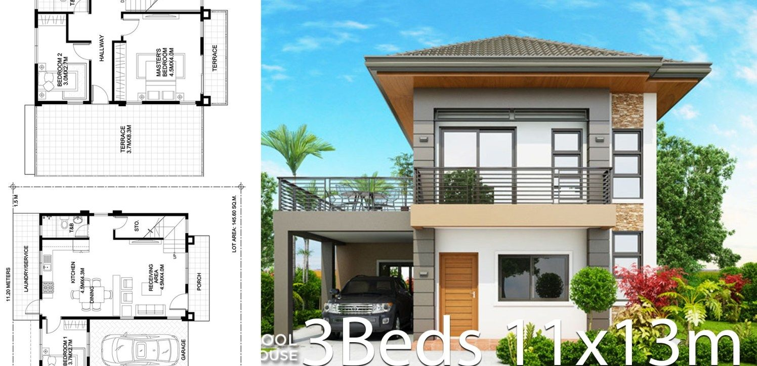 Home Design Plan 11x13m With 3 Bedrooms Home Ideas Home Design Plan Small House Design Plans Home Design Plans