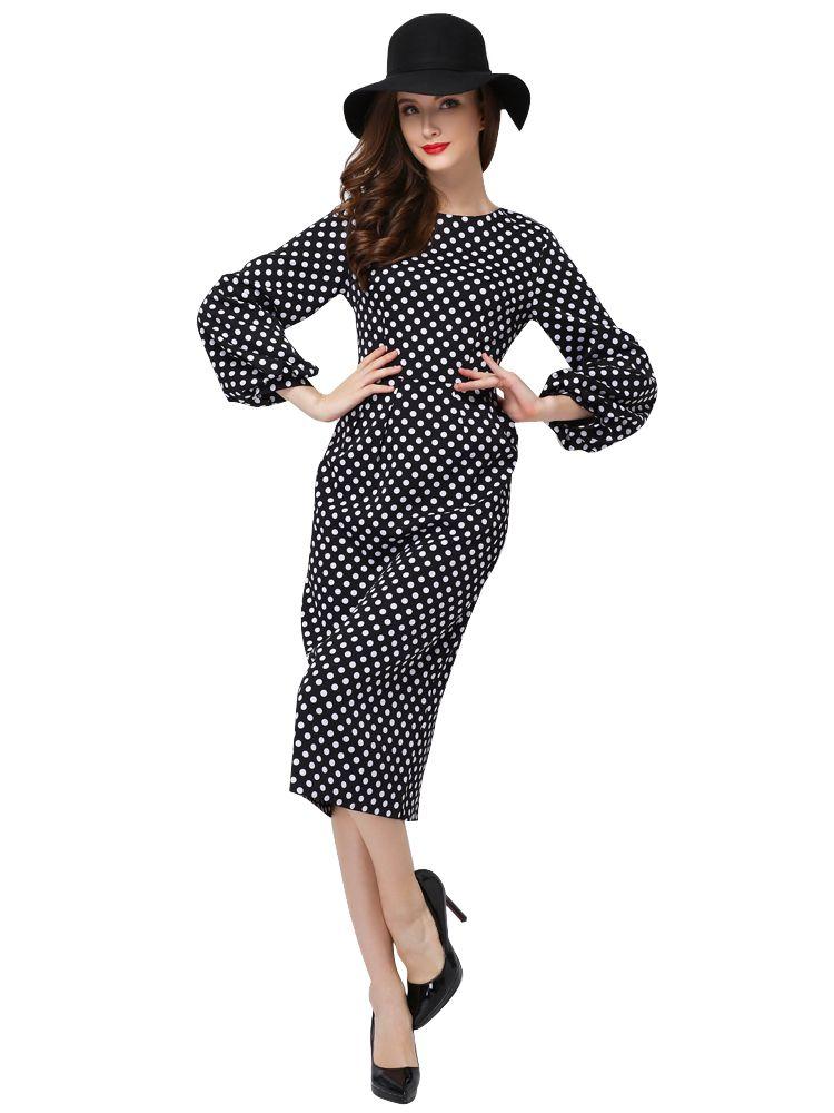 Sweet Polka Dot O-Neck Slim Long Dress