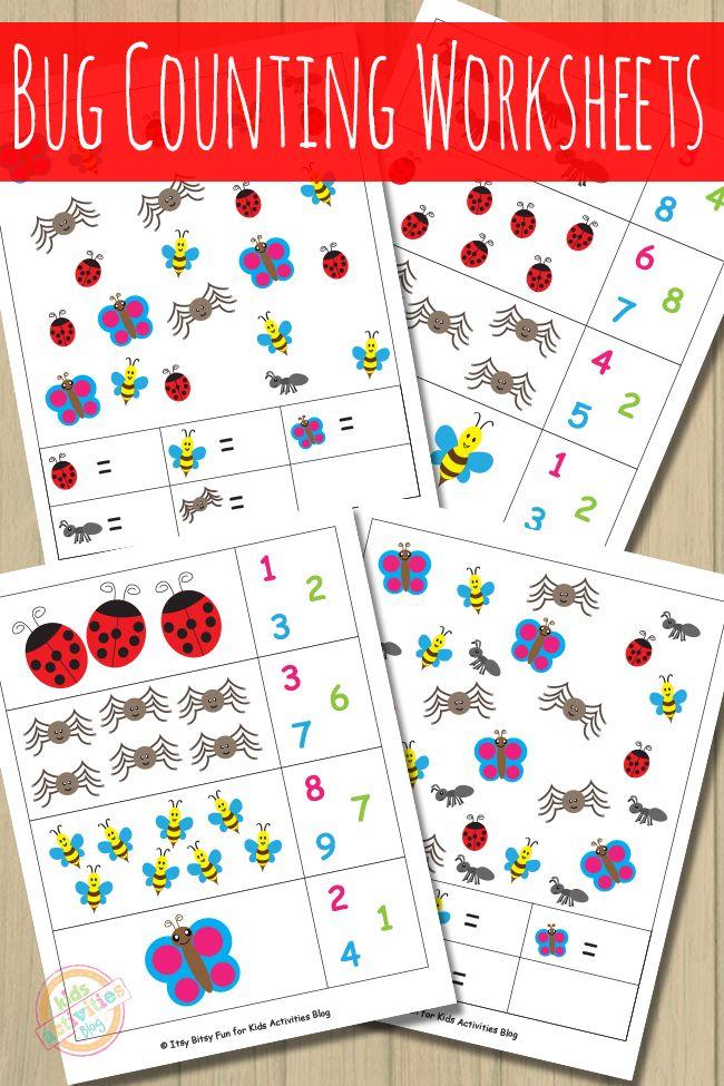 Bug Counting Worksheets | Insectos, Preescolar y Números
