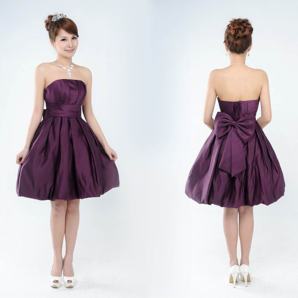 Short purple wedding dresses  Free Shipping  Purple puff skirt bridesmaid dress the bride