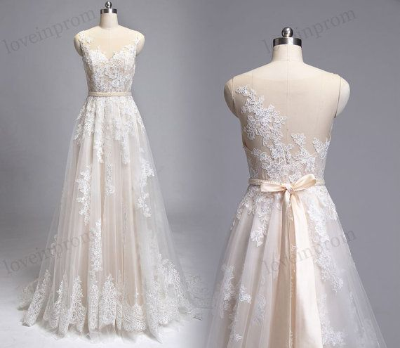 Best 12  Vintage Lace Wedding Dresses Handmade Sheer Mesh Tulle Wedding Gown/Ivory Champagne Bridal Dress, Formal Wedding Gowns p.
