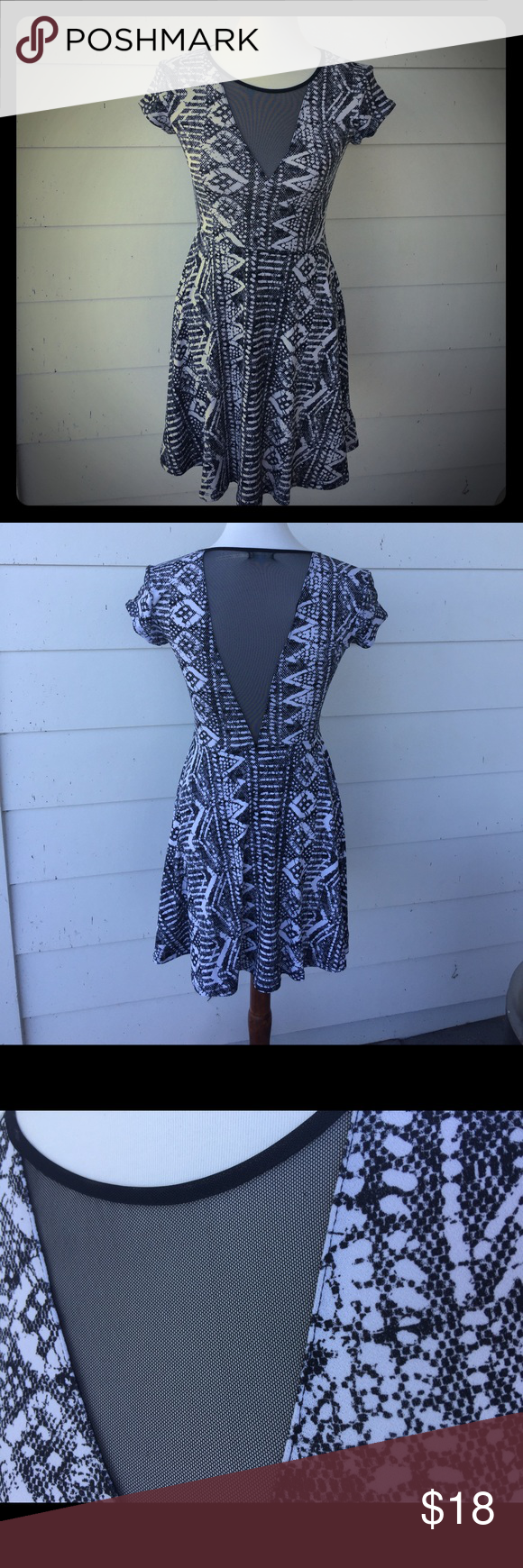 Flirty, Fun Kimchi Blue Dress Adorable Kimchi Blue Small dress. Fun black & white pattern w Black see thru Fabric in front & back to add flair! Stretch material & very comfortable. Dress up w Heels or casual w flats! EXCELLENT Condition, smoke free home Kimchi Blue Dresses Mini